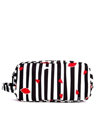 Lulu Guinness Cutout Lips Stripe Make Up Bag