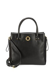 Sergio Rossi Solid Leather Tote Bag Black