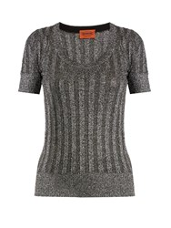 Missoni Scoop Neck Ribbed Knit Top Dark Grey