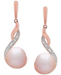 Honora Style Blush Cultured Freshwater Pearl 8Mm And Diamond 1 3 Ct. T.W. Drop Earrings In 14K Rose Gold Pink