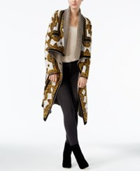 Rachel Roy Draped Printed Cardigan Rust Combo