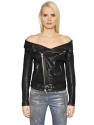 Faith Connexion Off The Shoulder Leather Sailor Jacket
