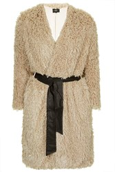Aviation Furry Coat By Goldie Beige
