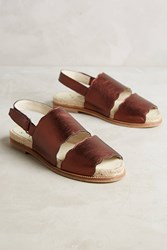 Anthropologie Kmb Double Band Slingback Sandals Wine