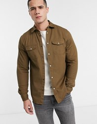 Solid Worker Overshirt In Tan