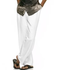 Cubavera Solid Linen Blend Drawstring Pants Bright White