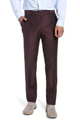 Strong Suit Dagger Flat Front Solid Wool And Linen Trousers Plum