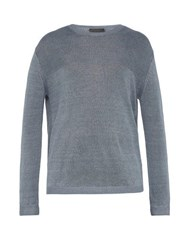 Iris Von Arnim Felix Linen Sweater Blue