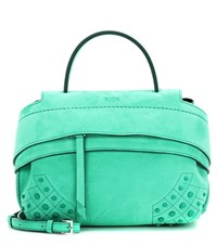 Tod's Wave Micro Suede Tote Green