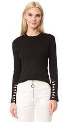 Edun Long Sleeve Fringe Sweater Black