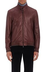 Brioni Men's Nappa Leather Bomber Jacket Red