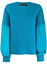 Federica Tosi Pleated Sleeve Sweater Blue