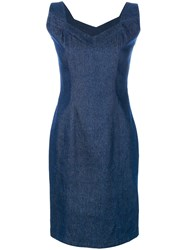 John Galliano Vintage Denim Sleeveless Dress Blue