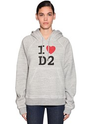 Dsquared Logo Printed Cotton Jersey Hoodie Grey
