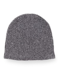 Vince Men's Donegal Knit Beanie Hat Charcoal