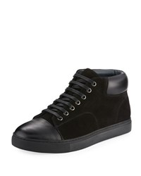 English Laundry Guard Men's Leather Suede High Top Sneaker Black