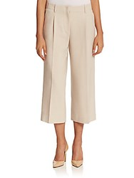 Lafayette 148 New York Wool Crepe Cropped Wide Leg Pant Oro