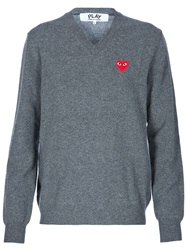 Comme Des Garcons Play V Neck Logo Sweater Grey