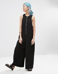Asos White Zip Front Wide Leg Jumpsuit Black