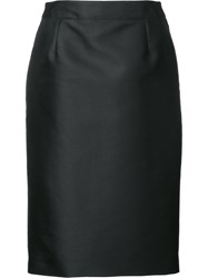 Carolina Herrera 'Mikado' Pencil Skirt Women Silk Polyester 4 Black