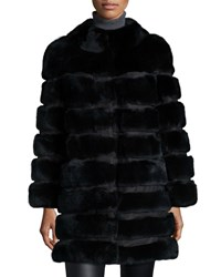 Belle Fare Horizontal Ribbed Rex Rabbit Fur Coat Black