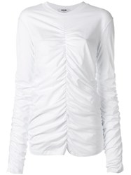 Msgm Ruched Detail T Shirt White