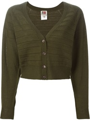 I'm Isola Marras Cropped V Neck Cardigan Green