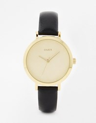 Oasis Floral Etch Dial Navy Leather Watch