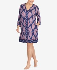 Ellen Tracy Plus Size Printed Jersey Sleepshirt Navy Print