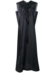 Veronique Branquinho Sleeveless Pleated Dress Black