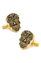 Men's Cufflinks Inc. Day Of The Dead Cuff Links Gold