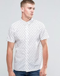 Native Youth Cacutus Print Short Sleeve Shirt White