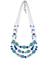Nine West Silver Tone Blue Bead Triple Row Necklace