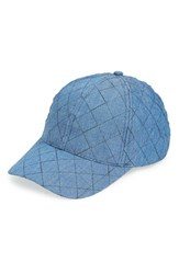 Amici Accessories Women's Quilted Chambray Ball Cap Blue