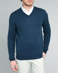 Hackett Navy Fine Gg Cashmere Cotton Elbow Patches V Neck Sweater