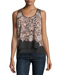Dex Printed Layered High Low Tank Baroque Floral Border