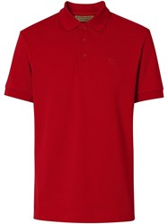 Burberry Check Placket Cotton Polo Shirt Red