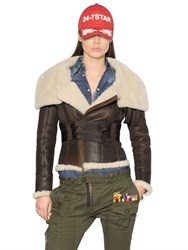 Dsquared Lambskin Shearling Aviator Jacket
