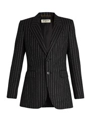 Saint Laurent Pinstriped Flannel Wool Jacket Grey