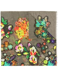 Boutique Moschino Floral Scarf Green