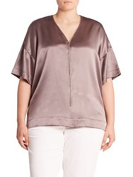 Lafayette 148 New York Caprice Silk Charmeuse Blouse Soapstone