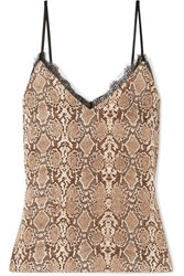 Anine Bing Lace Trimmed Snake Print Silk Charmeuse Camisole Snake Print