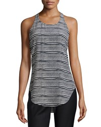 Derek Lam Dune Striped Silk Racerback Tank Ivory Midnight Ivory Black Women's