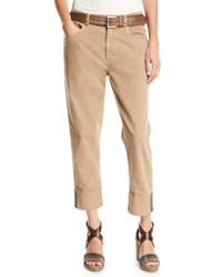 Brunello Cucinelli Monili Trimmed Straight Leg Cropped Jeans Brown