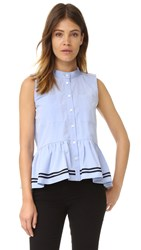 Sea Sleeveless Ruffle Top Blue