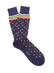 Paul Smith Polka Dot Cotton Blend Socks Blue Multi