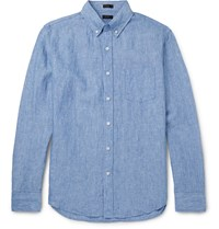 J.Crew Delave Button Down Collar Linen Shirt Blue