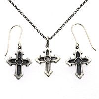 Metal Couture Gothic Cross Gift Set Silver