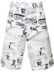 Comme Des Garcons Illustrated Print Shorts White