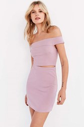 Silence And Noise Off The Shoulder Slashed Ponte Dress Mauve